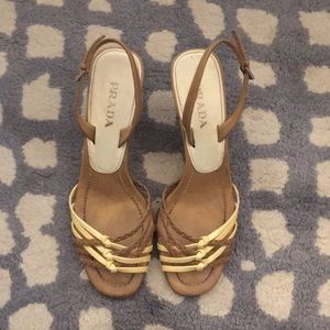 Prada tan and cream sandals